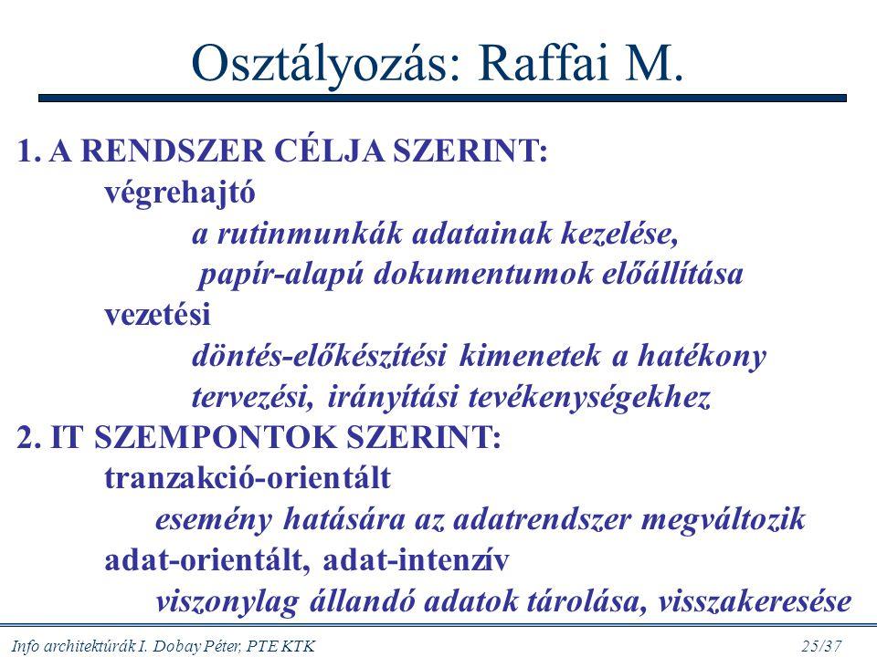 Info architektúrák I. Dobay Péter, PTE KTK 25/37 Osztályozás: Raffai M. 1. A RENDSZER CÉLJA SZERINT: végrehajtó a rutinmunkák adatainak kezelése, papí