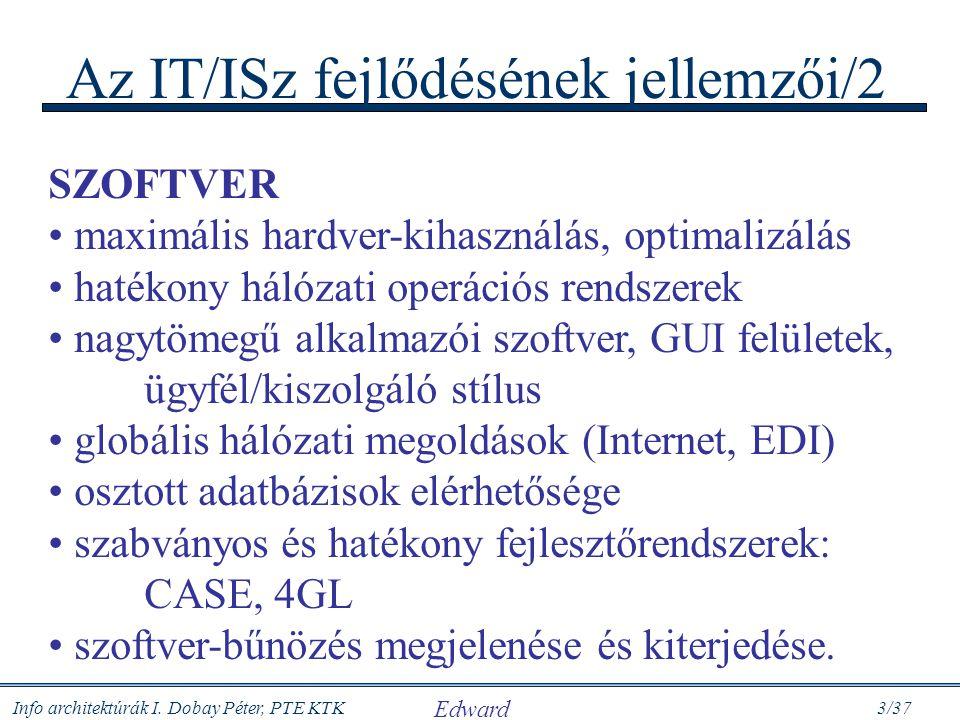 Info architektúrák I. Dobay Péter, PTE KTK 3/37 Az IT/ISz fejlődésének jellemzői/2 SZOFTVER maximális hardver-kihasználás, optimalizálás hatékony háló