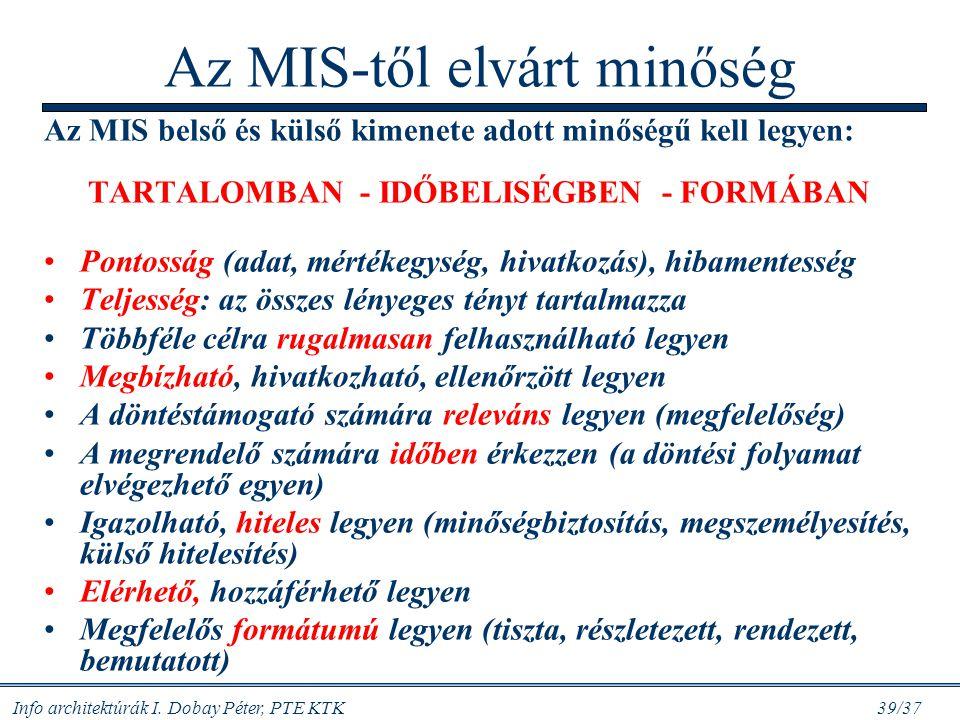 Info architektúrák I. Dobay Péter, PTE KTK 39/37 Az MIS-től elvárt minőség Az MIS belső és külső kimenete adott minőségű kell legyen: TARTALOMBAN - ID