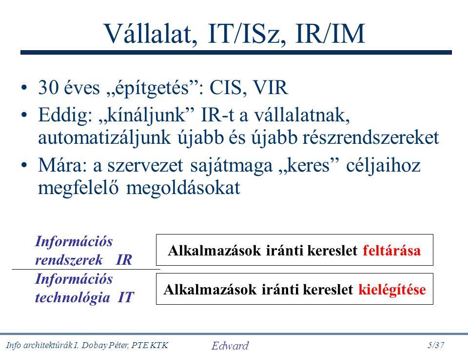 """Info architektúrák I. Dobay Péter, PTE KTK 5/37 Vállalat, IT/ISz, IR/IM 30 éves """"építgetés"""": CIS, VIR Eddig: """"kínáljunk"""" IR-t a vállalatnak, automatiz"""