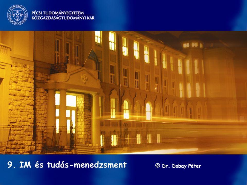 Információ-menedzsment/ Dobay 9. előadás GINFO 2010 ősz 1 / 41 s 9. IM és tudás-menedzsment © Dr. Dobay Péter