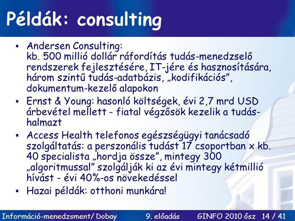 Információ-menedzsment/ Dobay 9. előadás GINFO 2010 ősz 14 / 41 Példák: consulting  Andersen Consulting: kb. 500 millió dollár ráfordítás tudás-mened