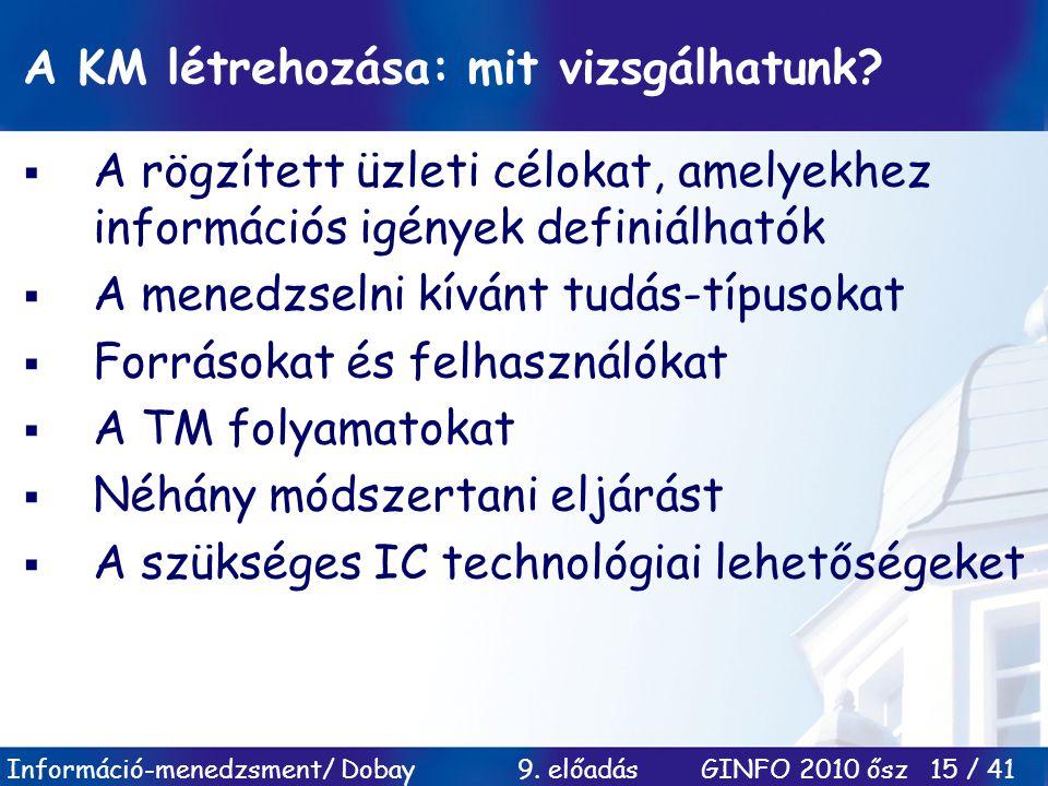 Információ-menedzsment/ Dobay 9. előadás GINFO 2010 ősz 15 / 41 A KM létrehozása: mit vizsgálhatunk?  A rögzített üzleti célokat, amelyekhez informác