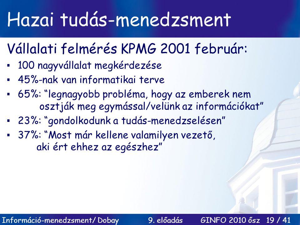 Információ-menedzsment/ Dobay 9. előadás GINFO 2010 ősz 19 / 41 Hazai tudás-menedzsment Vállalati felmérés KPMG 2001 február:  100 nagyvállalat megké