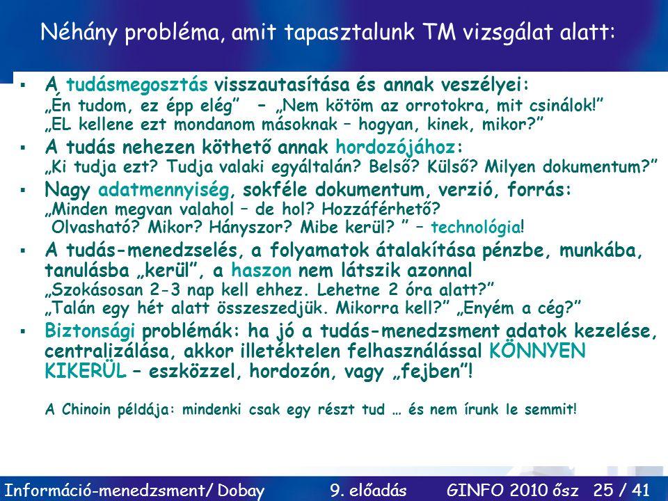 Információ-menedzsment/ Dobay 9. előadás GINFO 2010 ősz 25 / 41 Néhány probléma, amit tapasztalunk TM vizsgálat alatt:  A tudásmegosztás visszautasít
