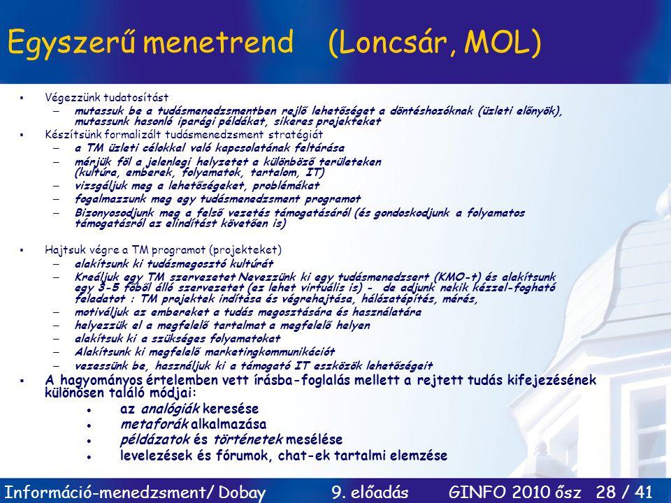 Információ-menedzsment/ Dobay 9. előadás GINFO 2010 ősz 28 / 41 Egyszerű menetrend (Loncsár, MOL)  Végezzünk tudatosítást –mutassuk be a tudásmenedzs