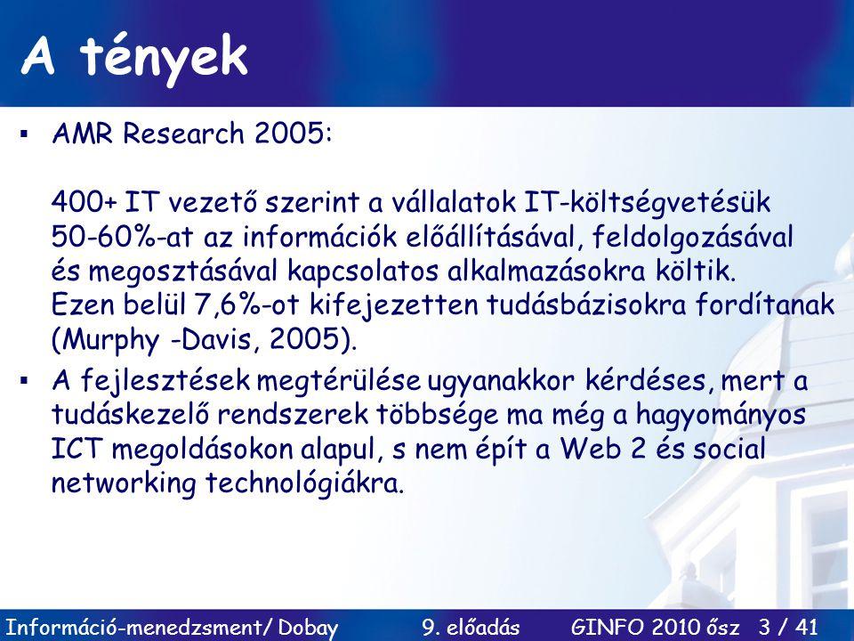 Információ-menedzsment/ Dobay 9. előadás GINFO 2010 ősz 3 / 41 A tények  AMR Research 2005: 400+ IT vezető szerint a vállalatok IT-költségvetésük 50-