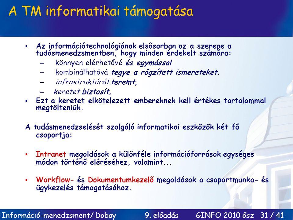 Információ-menedzsment/ Dobay 9. előadás GINFO 2010 ősz 31 / 41 A TM informatikai támogatása  Az információtechnológiának elsősorban az a szerepe a t