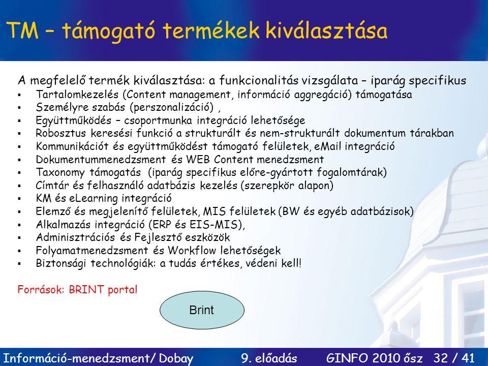Információ-menedzsment/ Dobay 9. előadás GINFO 2010 ősz 32 / 41 TM – támogató termékek kiválasztása A megfelelő termék kiválasztása: a funkcionalitás
