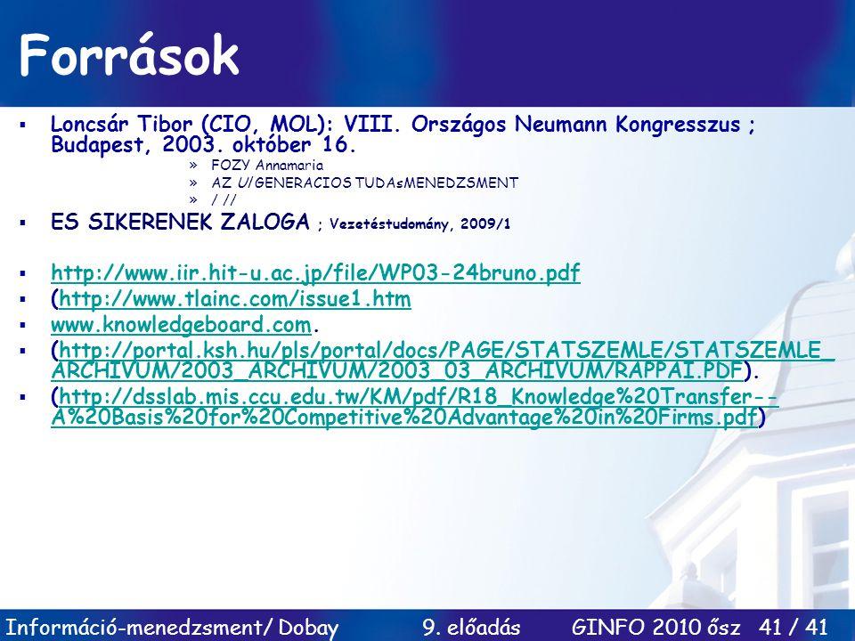 Információ-menedzsment/ Dobay 9. előadás GINFO 2010 ősz 41 / 41 Források  Loncsár Tibor (CIO, MOL): VIII. Országos Neumann Kongresszus ; Budapest, 20