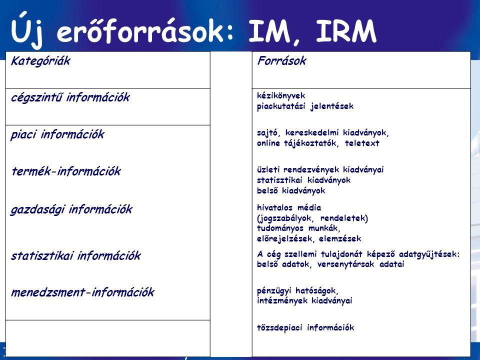 Információ-menedzsment/ Dobay 9. előadás GINFO 2010 ősz 6 / 41 Új erőforrások: IM, IRM KategóriákForrások cégszintű információk kézikönyvek piackutatá