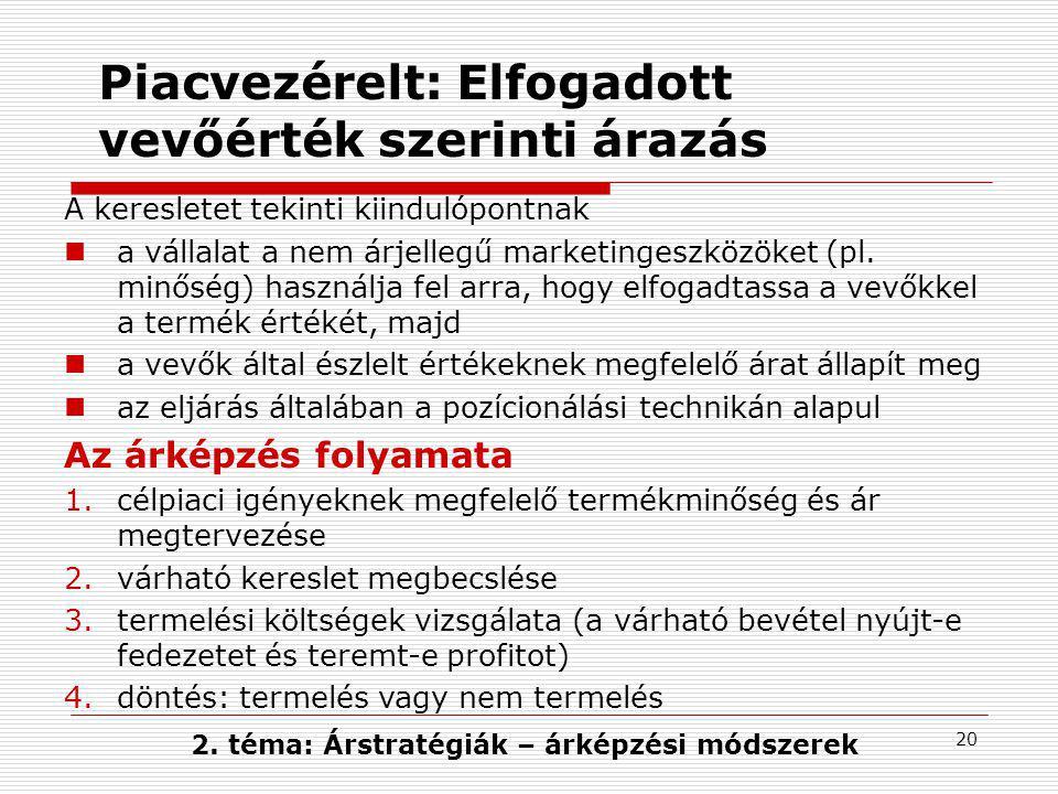 20 Piacvezérelt: Elfogadott vevőérték szerinti árazás A keresletet tekinti kiindulópontnak a vállalat a nem árjellegű marketingeszközöket (pl. minőség