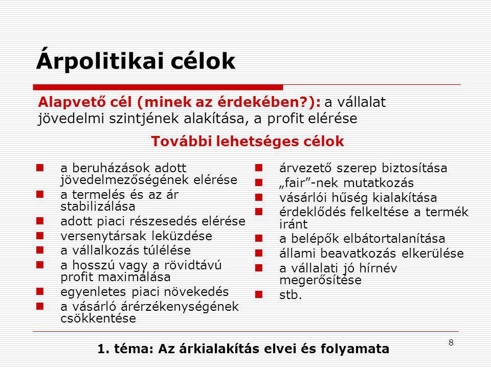 8 Árpolitikai célok a beruházások adott jövedelmezőségének elérése a termelés és az ár stabilizálása adott piaci részesedés elérése versenytársak lekü