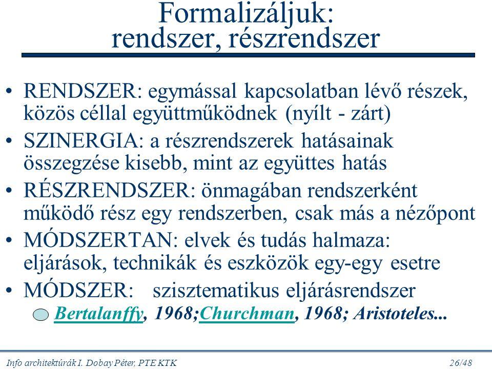 Info architektúrák I. Dobay Péter, PTE KTK 25/48 Értéknövelési lánc és információ terméktervgyártáseladáskiszállításszolgáltatás szállítók vevők alkat