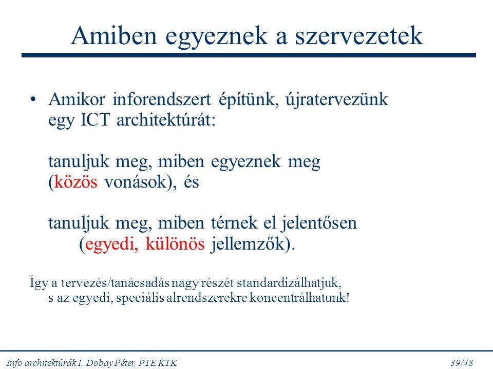 """Info architektúrák I. Dobay Péter, PTE KTK 38/48 IT/IR és a modellek: tanuljunk mindkettőből! Ha """"technikai"""" jellegű a cég: cseréljük ki az inputokat"""