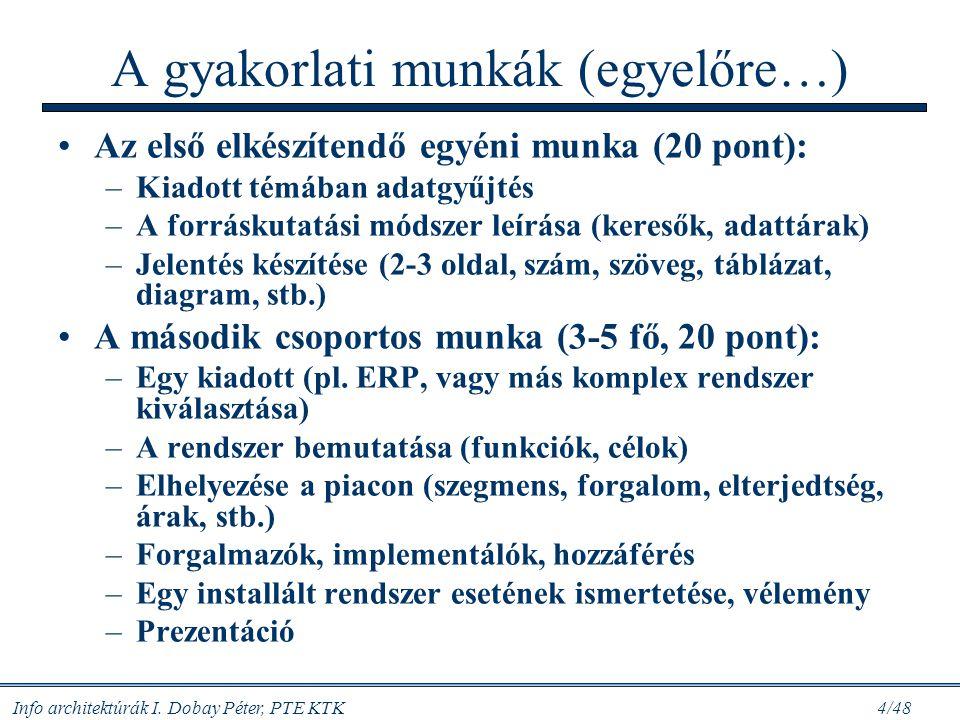 Info architektúrák I. Dobay Péter, PTE KTK 3/48 folytatás B/ Rendszer-funkciók különböző architektúrái 6. Okt. 12: Korszerű kötegelt rendszerek. Rends