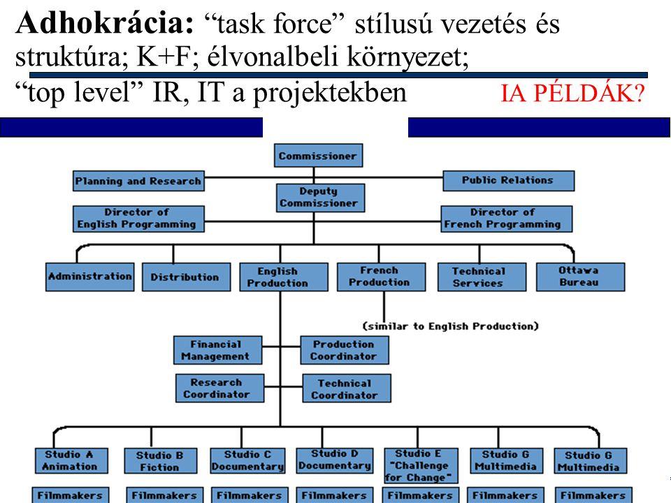 Info architektúrák I. Dobay Péter, PTE KTK 45/48 Divizionált bürokrácia: kombináció, vezető, nagy cégek; eltérő piacok, környezet; EIS központosítoitt