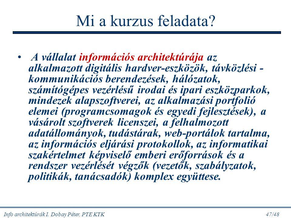 """Info architektúrák I. Dobay Péter, PTE KTK 46/48 Adhokrácia: """"task force"""" stílusú vezetés és struktúra; K+F; élvonalbeli környezet; """"top level"""" IR, IT"""