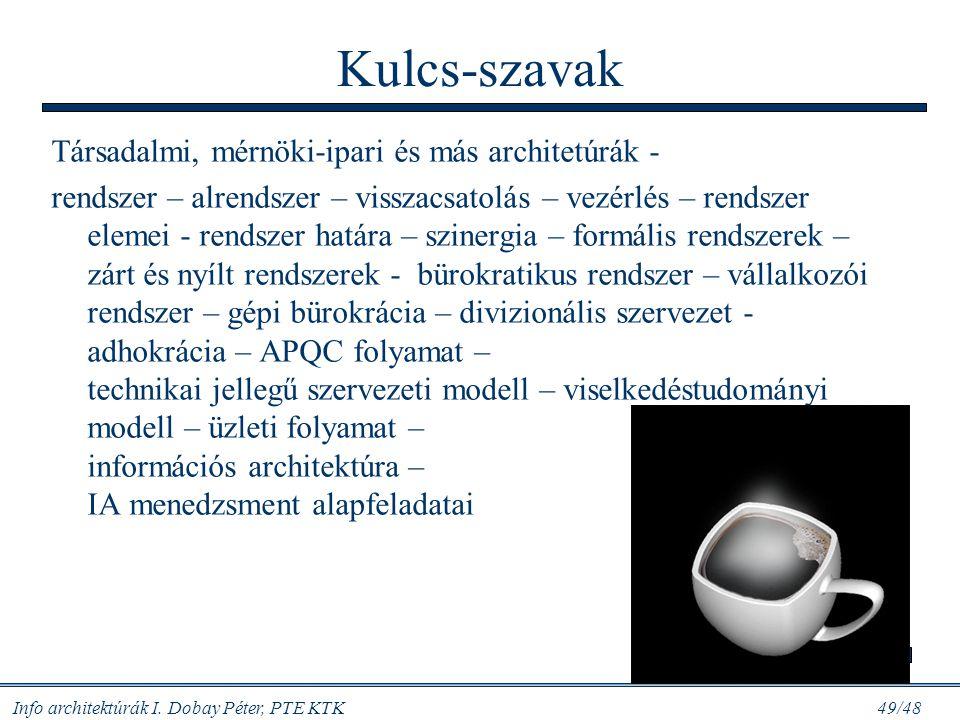 Info architektúrák I. Dobay Péter, PTE KTK 48/48 Mit csinál az IA menedzser? Egyszerűen és világosan: rendet csinál az információs szénakazalban, anna