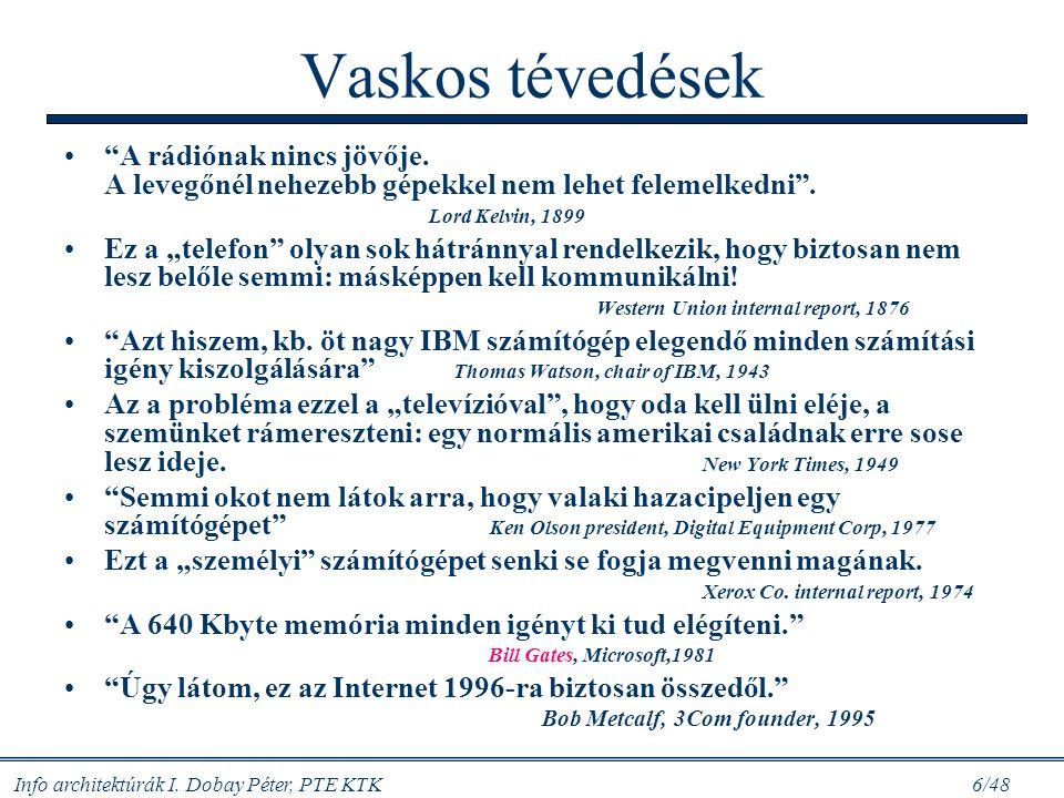 Info architektúrák I.Dobay Péter, PTE KTK 6/48 Vaskos tévedések A rádiónak nincs jövője.