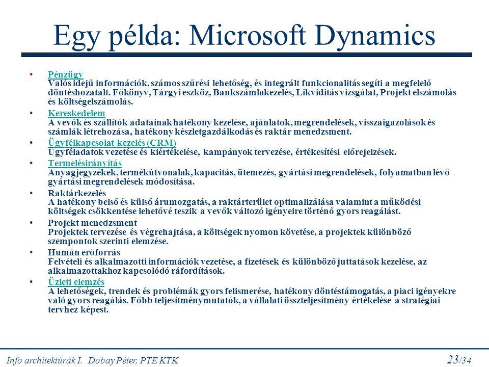 Info architektúrák I. Dobay Péter, PTE KTK 23 /34 Egy példa: Microsoft Dynamics Pénzügy Valós idejű információk, számos szűrési lehetőség, és integrál