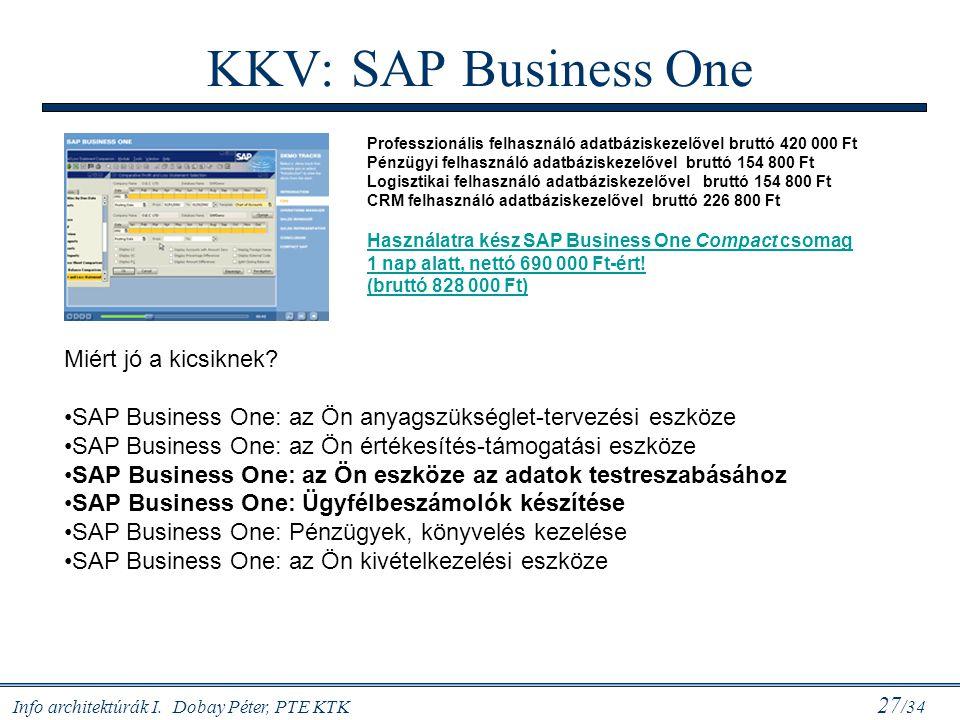 Info architektúrák I. Dobay Péter, PTE KTK 27 /34 KKV: SAP Business One Miért jó a kicsiknek? SAP Business One: az Ön anyagszükséglet-tervezési eszköz