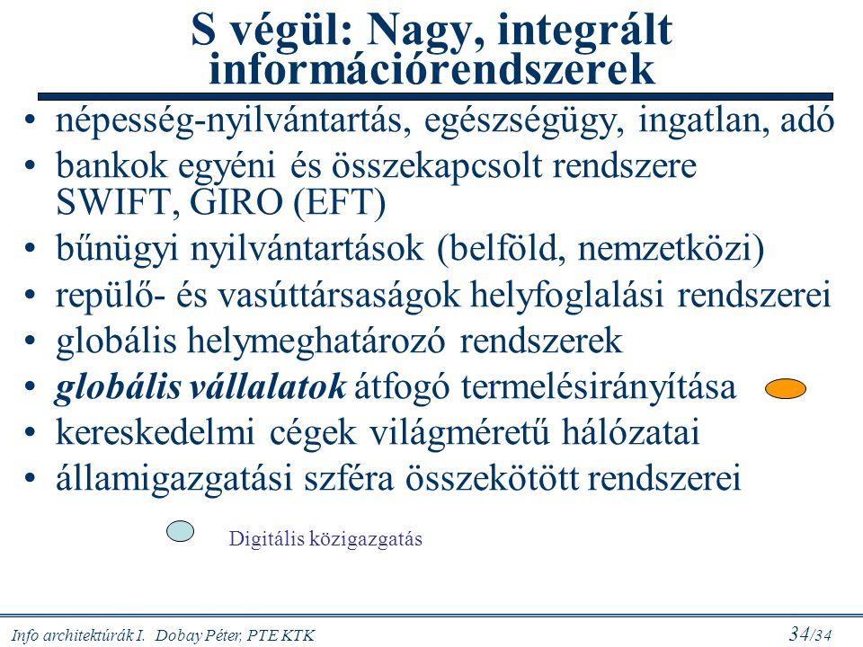 Info architektúrák I. Dobay Péter, PTE KTK 34 /34 S végül: Nagy, integrált információrendszerek népesség-nyilvántartás, egészségügy, ingatlan, adó ban