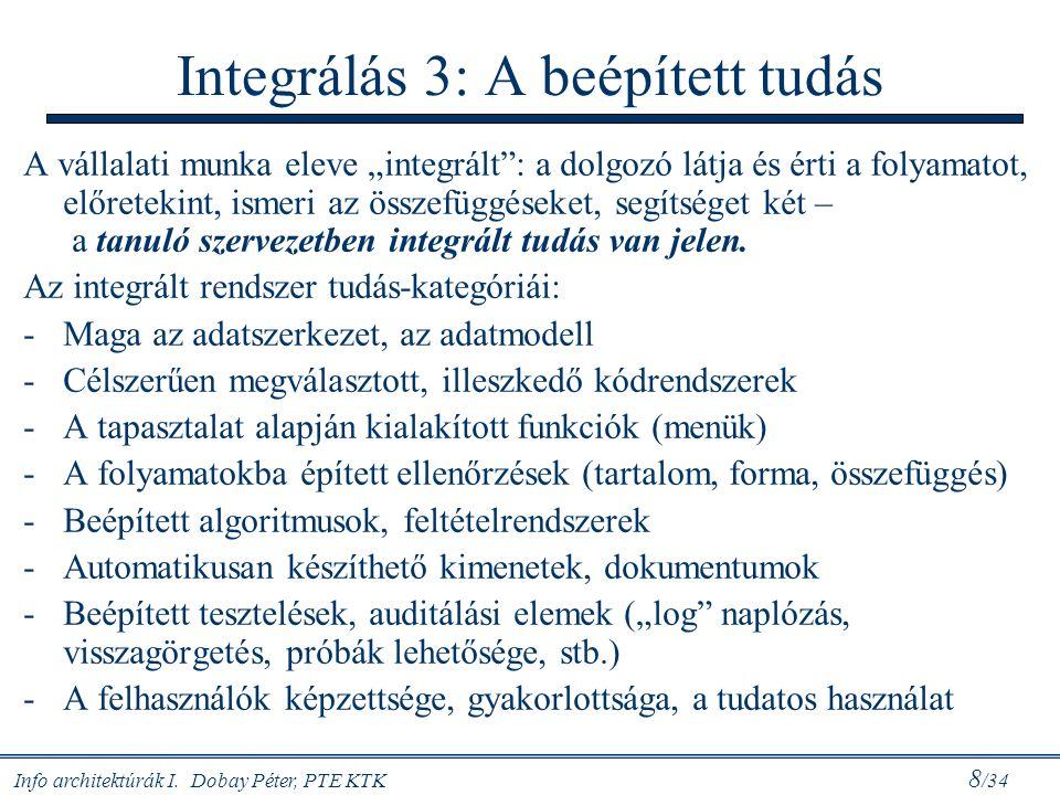 """Info architektúrák I. Dobay Péter, PTE KTK 8 /34 Integrálás 3: A beépített tudás A vállalati munka eleve """"integrált"""": a dolgozó látja és érti a folyam"""