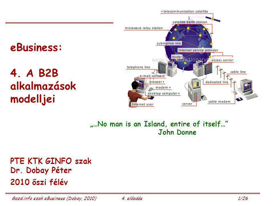 """Gazd.info szak eBusiness (Dobay, 2010)4. előadás 1/26 eBusiness: 4. A B2B alkalmazások modelljei PTE KTK GINFO szak Dr. Dobay Péter 2010 őszi félév """"…"""