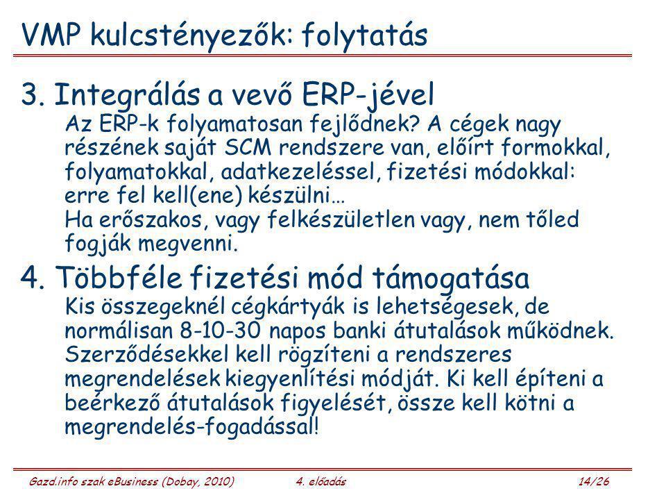 Gazd.info szak eBusiness (Dobay, 2010)4. előadás 14/26 VMP kulcstényezők: folytatás 3. Integrálás a vevő ERP-jével Az ERP-k folyamatosan fejlődnek? A