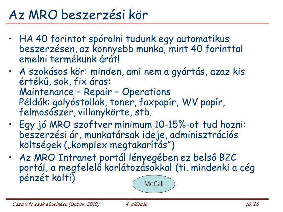 Gazd.info szak eBusiness (Dobay, 2010)4. előadás 16/26 Az MRO beszerzési kör HA 40 forintot spórolni tudunk egy automatikus beszerzésen, az könnyebb m