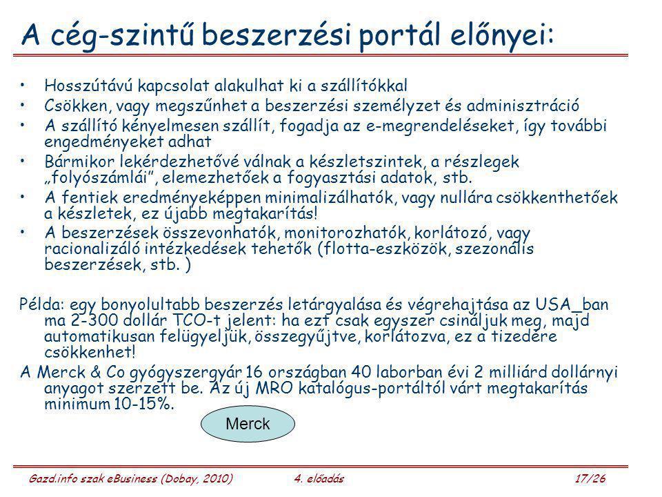 Gazd.info szak eBusiness (Dobay, 2010)4. előadás 17/26 A cég-szintű beszerzési portál előnyei: Hosszútávú kapcsolat alakulhat ki a szállítókkal Csökke