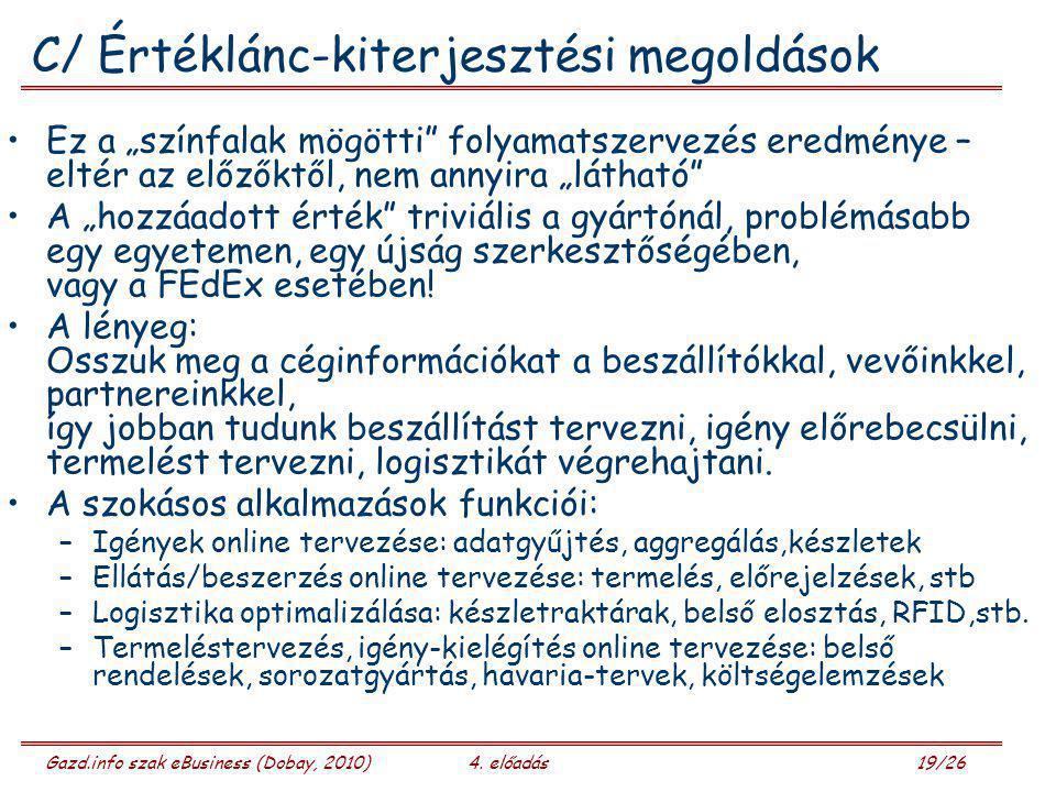 """Gazd.info szak eBusiness (Dobay, 2010)4. előadás 19/26 C/ Értéklánc-kiterjesztési megoldások Ez a """"színfalak mögötti"""" folyamatszervezés eredménye – el"""