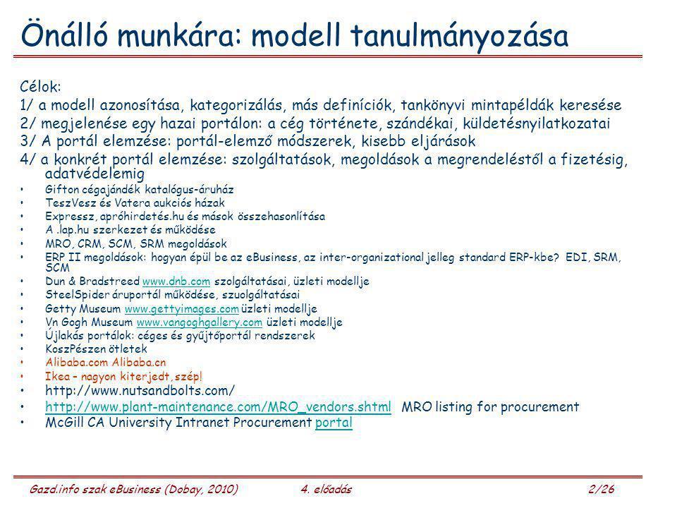 Gazd.info szak eBusiness (Dobay, 2010)4. előadás 2/26 Önálló munkára: modell tanulmányozása Célok: 1/ a modell azonosítása, kategorizálás, más definíc