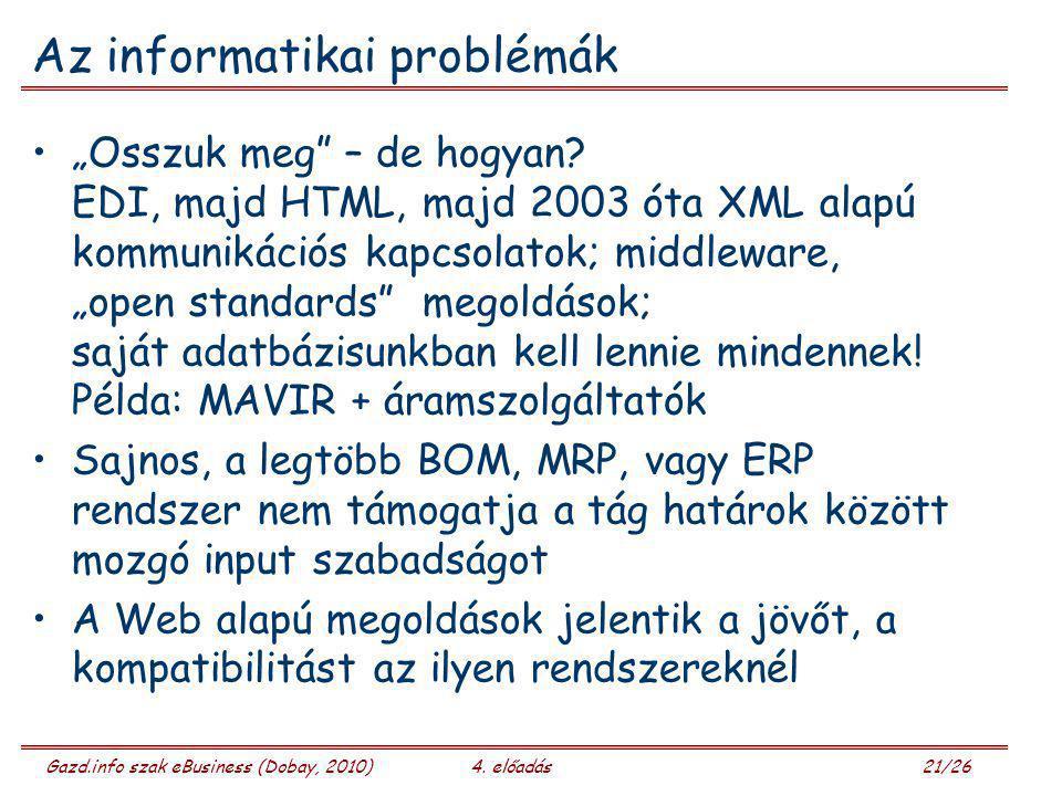 """Gazd.info szak eBusiness (Dobay, 2010)4. előadás 21/26 Az informatikai problémák """"Osszuk meg"""" – de hogyan? EDI, majd HTML, majd 2003 óta XML alapú kom"""