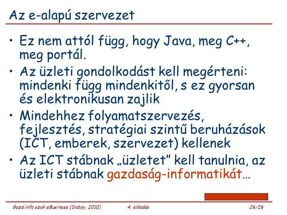 Gazd.info szak eBusiness (Dobay, 2010)4. előadás 26/26 Az e-alapú szervezet Ez nem attól függ, hogy Java, meg C++, meg portál. Az üzleti gondolkodást