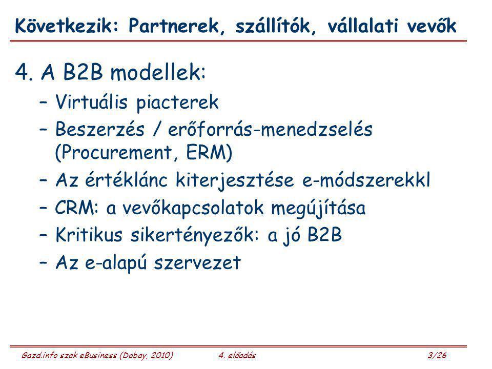 Gazd.info szak eBusiness (Dobay, 2010)4. előadás 3/26 Következik: Partnerek, szállítók, vállalati vevők 4. A B2B modellek: –Virtuális piacterek –Besze
