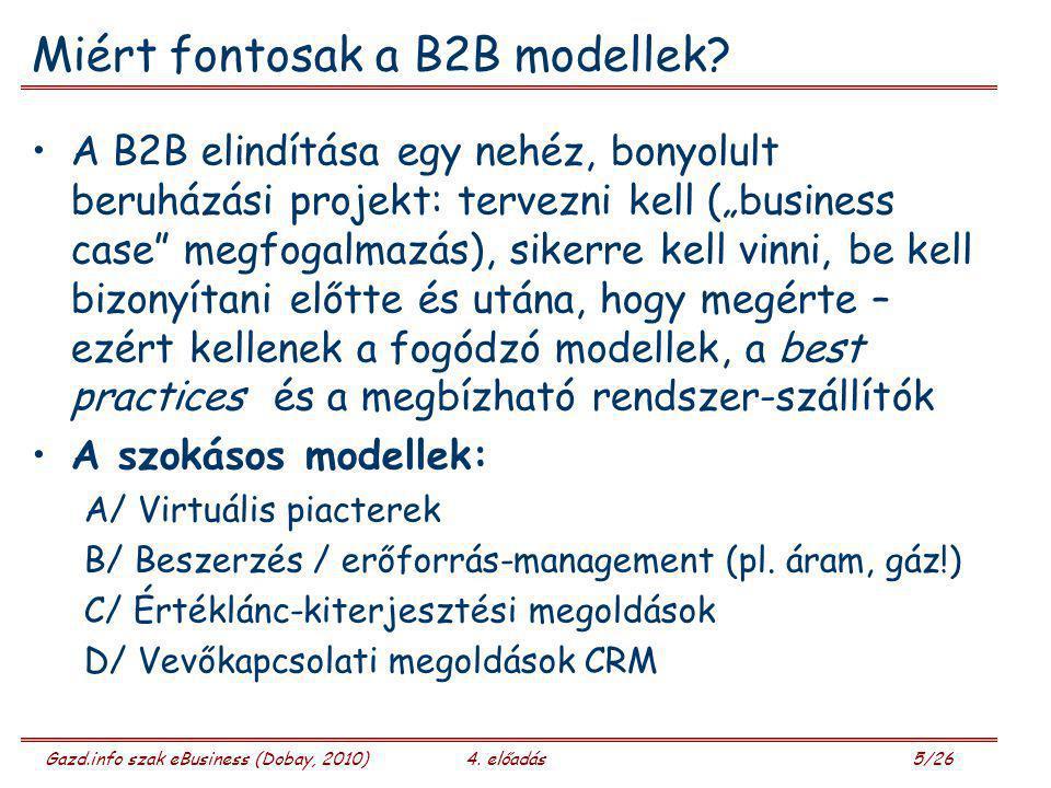 Gazd.info szak eBusiness (Dobay, 2010)4. előadás 5/26 Miért fontosak a B2B modellek? A B2B elindítása egy nehéz, bonyolult beruházási projekt: tervezn