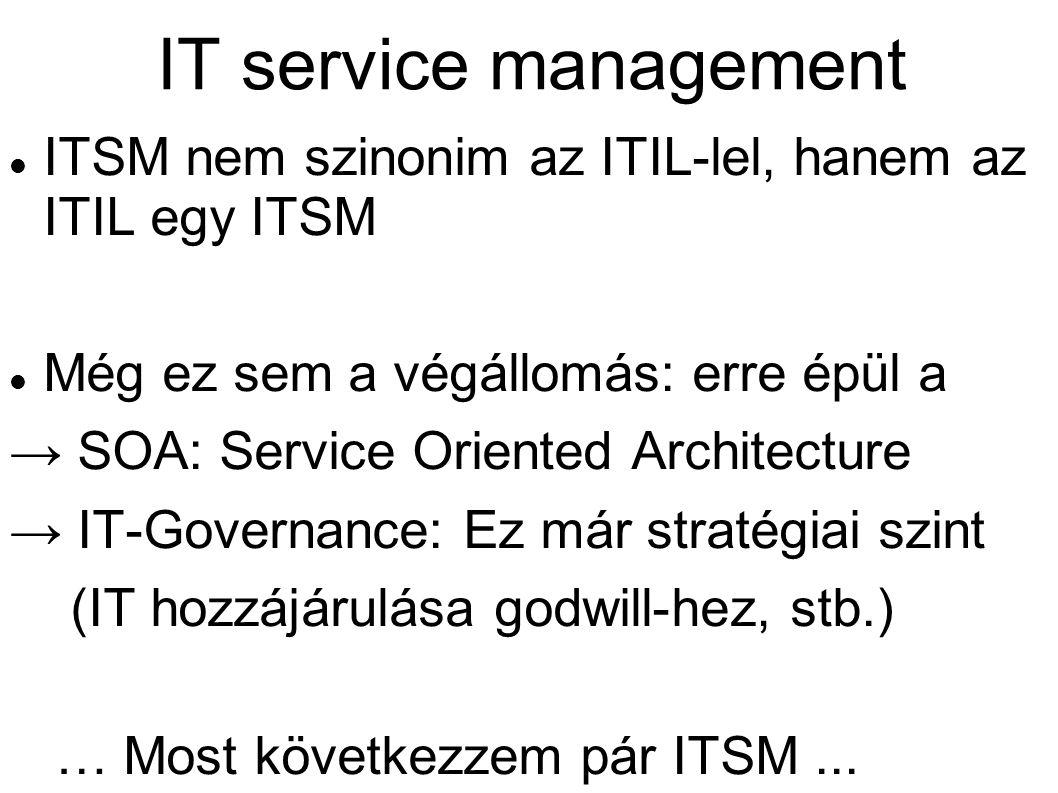 IT service management ITSM nem szinonim az ITIL-lel, hanem az ITIL egy ITSM Még ez sem a végállomás: erre épül a → SOA: Service Oriented Architecture