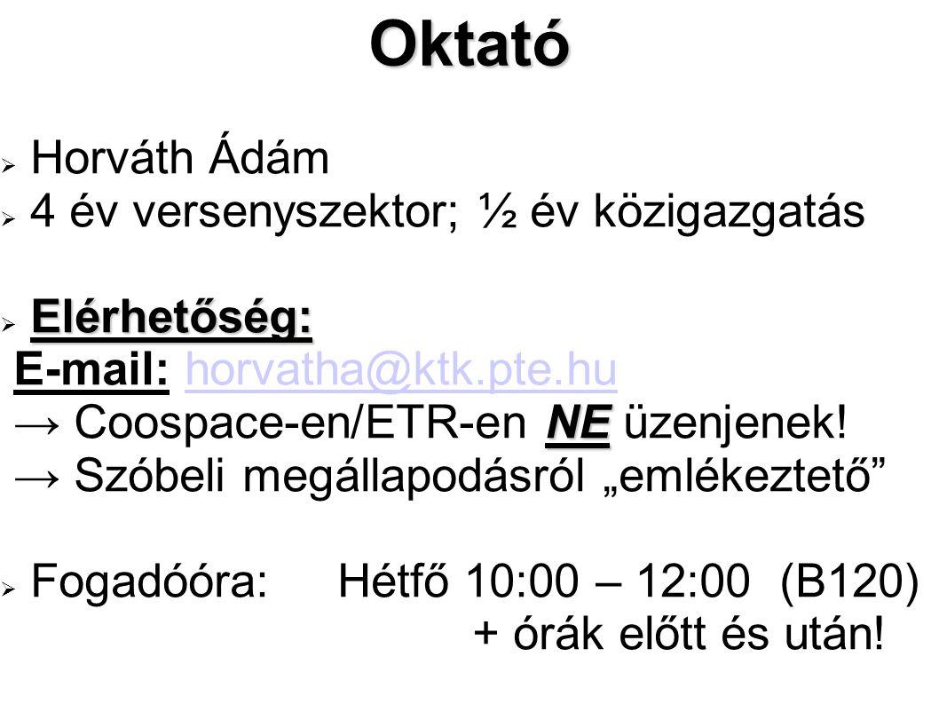Oktató  Horváth Ádám  4 év versenyszektor; ½ év közigazgatás Elérhetőség:  Elérhetőség: E-mail: horvatha@ktk.pte.huhorvatha@ktk.pte.hu NE → Coospace-en/ETR-en NE üzenjenek.
