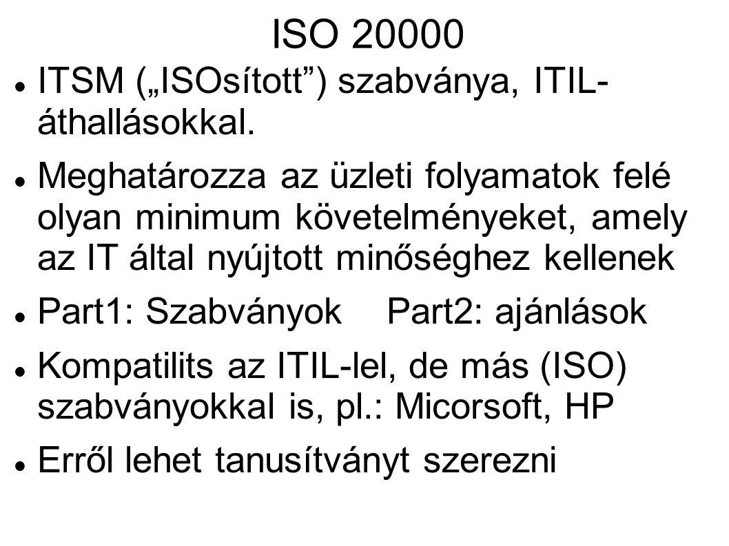 """ISO 20000 ITSM (""""ISOsított"""") szabványa, ITIL- áthallásokkal. Meghatározza az üzleti folyamatok felé olyan minimum követelményeket, amely az IT által n"""