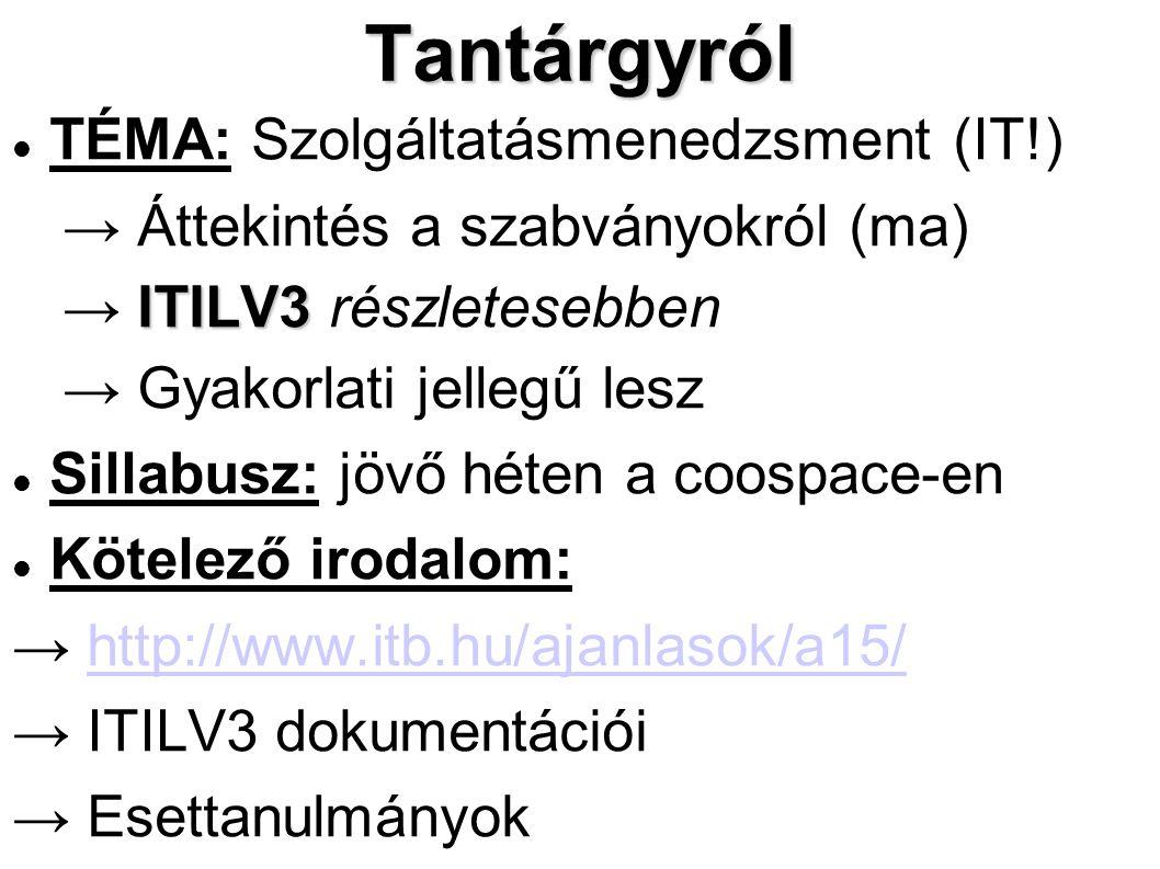 Tantárgyról TÉMA: Szolgáltatásmenedzsment (IT!) → Áttekintés a szabványokról (ma) ITILV3 → ITILV3 részletesebben → Gyakorlati jellegű lesz Sillabusz: