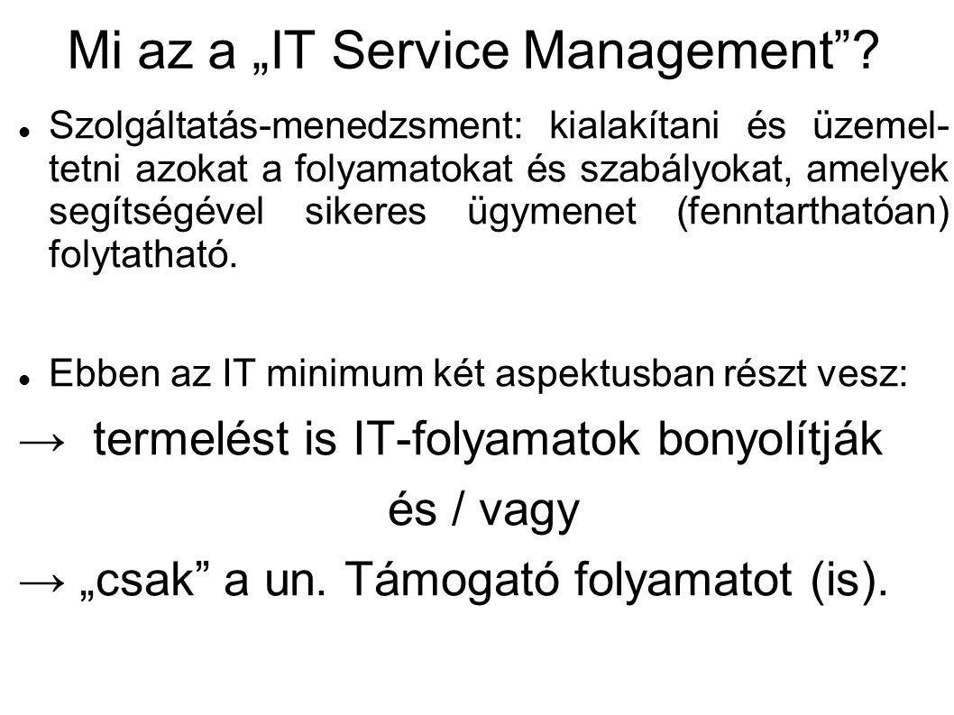 IT service management ITSM nem szinonim az ITIL-lel, hanem az ITIL egy ITSM Még ez sem a végállomás: erre épül a → SOA: Service Oriented Architecture → IT-Governance: Ez már stratégiai szint (IT hozzájárulása godwill-hez, stb.) … Most következzem pár ITSM...