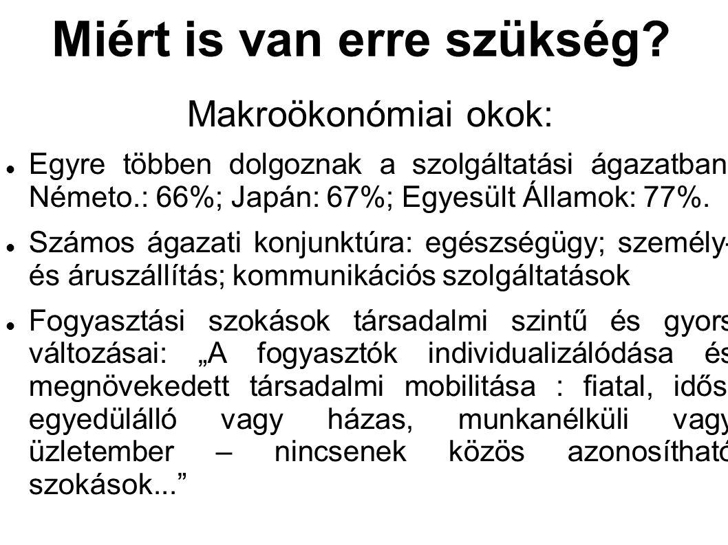 Miért is van erre szükség? Makroökonómiai okok: Egyre többen dolgoznak a szolgáltatási ágazatban: Németo.: 66%; Japán: 67%; Egyesült Államok: 77%. Szá