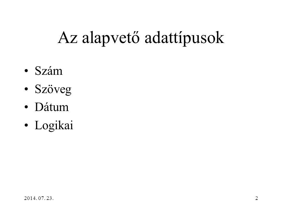 2014. 07. 23.2 Az alapvető adattípusok Szám Szöveg Dátum Logikai