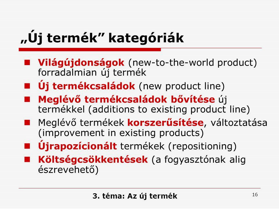 """16 """"Új termék kategóriák Világújdonságok (new-to-the-world product) forradalmian új termék Új termékcsaládok (new product line) Meglévő termékcsaládok bővítése új termékkel (additions to existing product line) Meglévő termékek korszerűsítése, változtatása (improvement in existing products) Újrapozícionált termékek (repositioning) Költségcsökkentések (a fogyasztónak alig észrevehető) 3."""