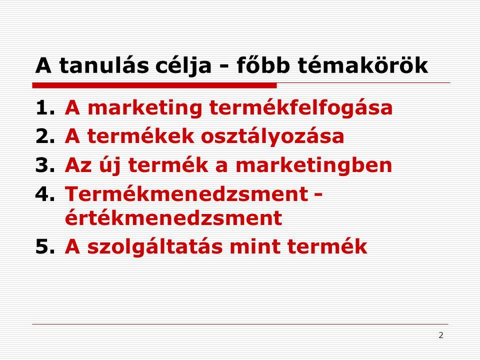2 A tanulás célja - főbb témakörök 1.A marketing termékfelfogása 2.A termékek osztályozása 3.Az új termék a marketingben 4.Termékmenedzsment - értékmenedzsment 5.A szolgáltatás mint termék