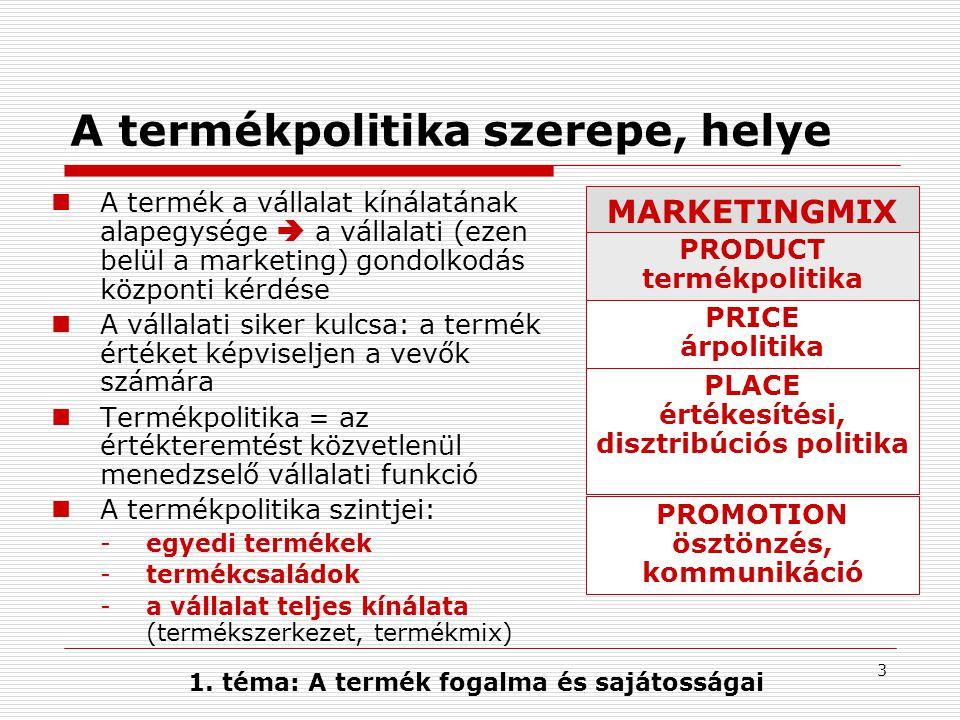 4 A termék fogalma Termék lehet bármi, ami fogyasztás, igénybe vétel vagy elfogadás céljából felkínálható, és amely szükségletet, igényt elégíthet ki.