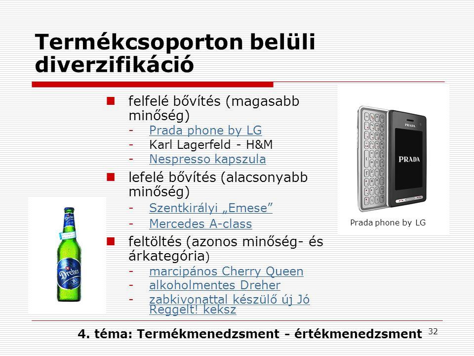 """32 Termékcsoporton belüli diverzifikáció felfelé bővítés (magasabb minőség) -Prada phone by LGPrada phone by LG -Karl Lagerfeld - H&M -Nespresso kapszulaNespresso kapszula lefelé bővítés (alacsonyabb minőség) -Szentkirályi """"Emese Szentkirályi """"Emese -Mercedes A-classMercedes A-class feltöltés (azonos minőség- és árkategória ) -marcipános Cherry Queenmarcipános Cherry Queen -alkoholmentes Dreheralkoholmentes Dreher -zabkivonattal készülő új Jó Reggelt."""