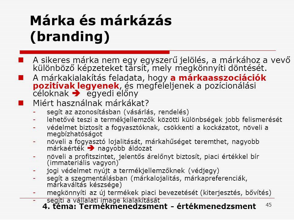 45 Márka és márkázás (branding) A sikeres márka nem egy egyszerű jelölés, a márkához a vevő különböző képzeteket társít, mely megkönnyíti döntését.